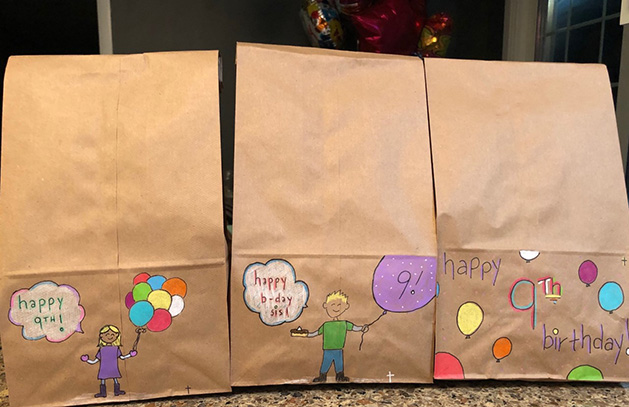 Three bags decorated for Bradley Smith's daughter's birthday.